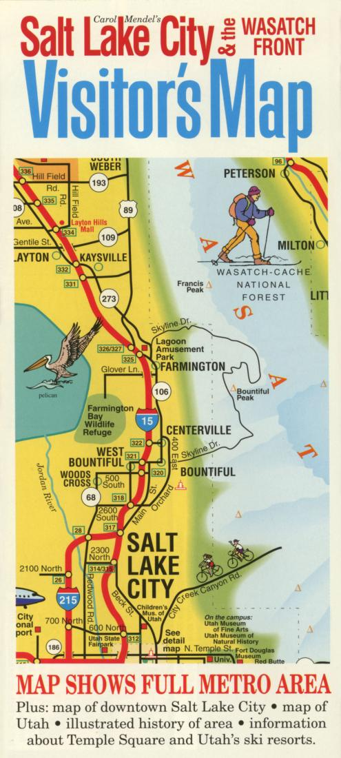 Salt Lake City, Utah, Visitor\'s Map by Carol Mendel