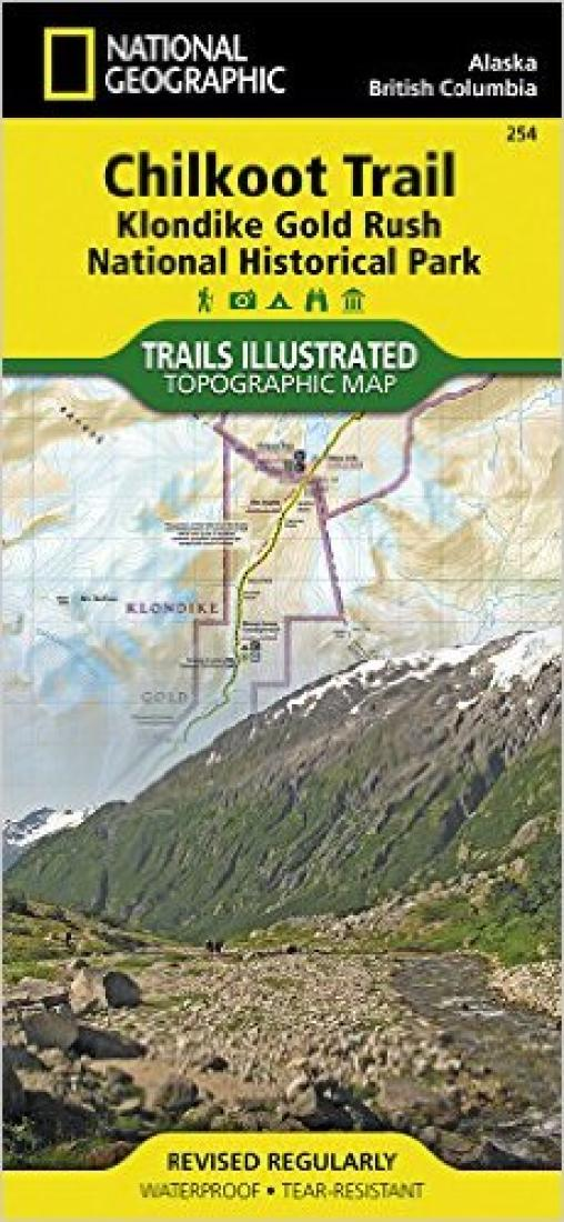 Chilkoot Trail and Klon Gold Rush, Alaska, Map 254 by National Geographic on z nation map, underground railroad map, the great train robbery map, mining map, the revolution map, gold trade map, klondike map, grand canyon map, gold at sutter's mill, colonial expansion map, alaska map, the 100 map, compromise of 1850 map, gold mining tools, mexican cession map, world copper mine map, missouri compromise map, us gold map, manifest destiny map, gold production map,