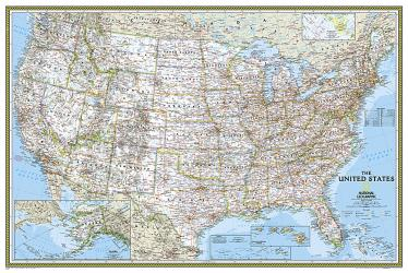 United States Classic Poster Size Wall Map (36 x 24 inches) (Tubed) by National Geographic Maps