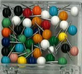 Assorted Color Map Pins, Large, box of 100 by Moore Push-Pin Co.
