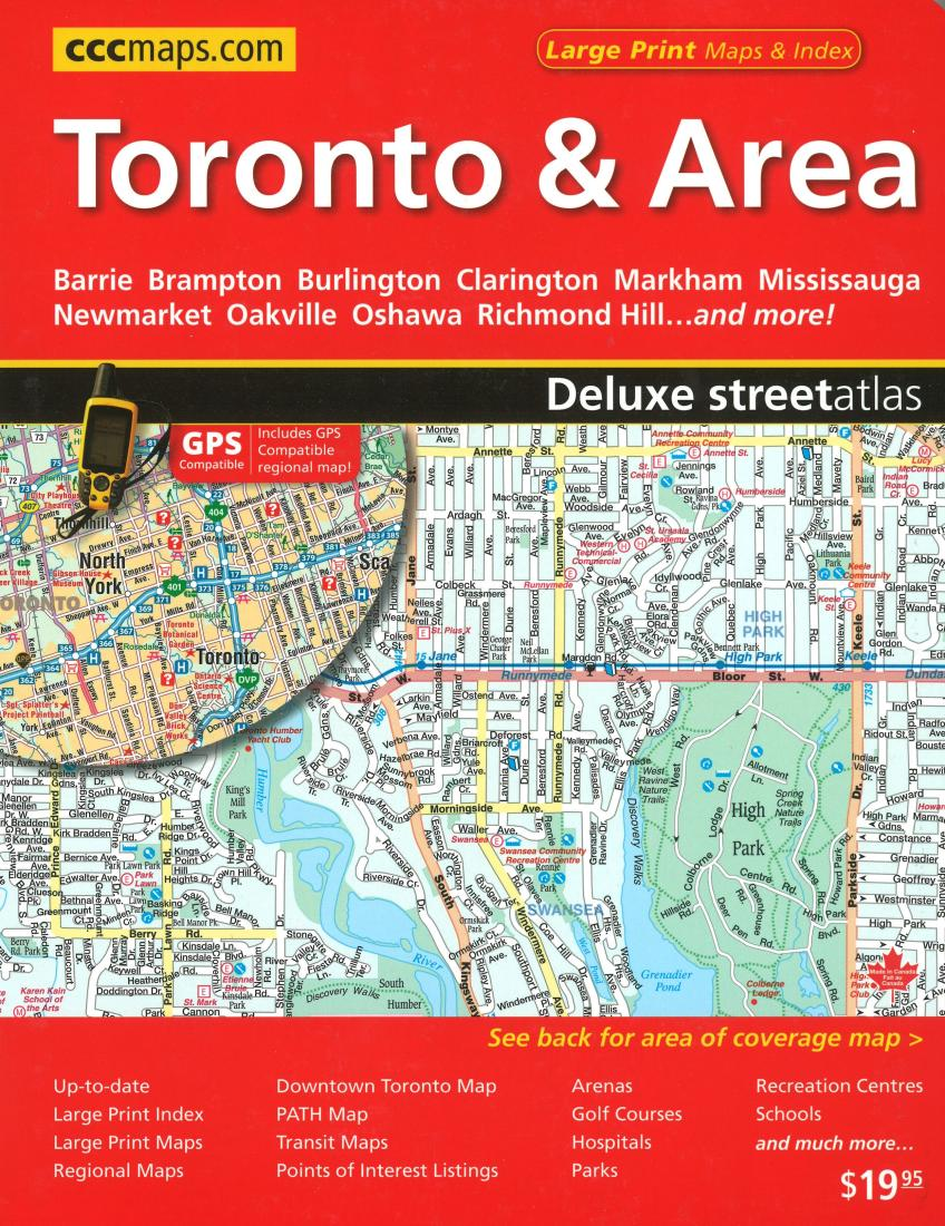 Toronto Area Deluxe Street Atlas Large Print By Canadian - Map of oshawa streets