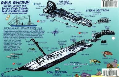 British Virgin Islands Reef Creatures Identification Guide / RMS Rhone Wreck Layout by Frankos Maps Ltd.