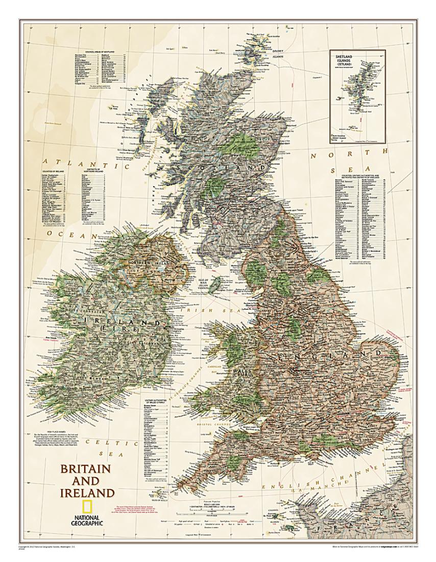 Political Map Of Great Britain.Britain And Ireland Executive Wall Map 23 5 X 30 25 Inches By