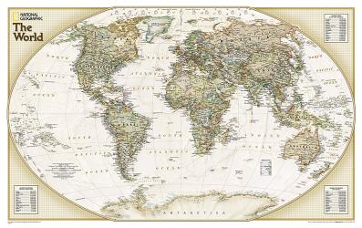 World, Explorer Executive, Sleeved by National Geographic Maps