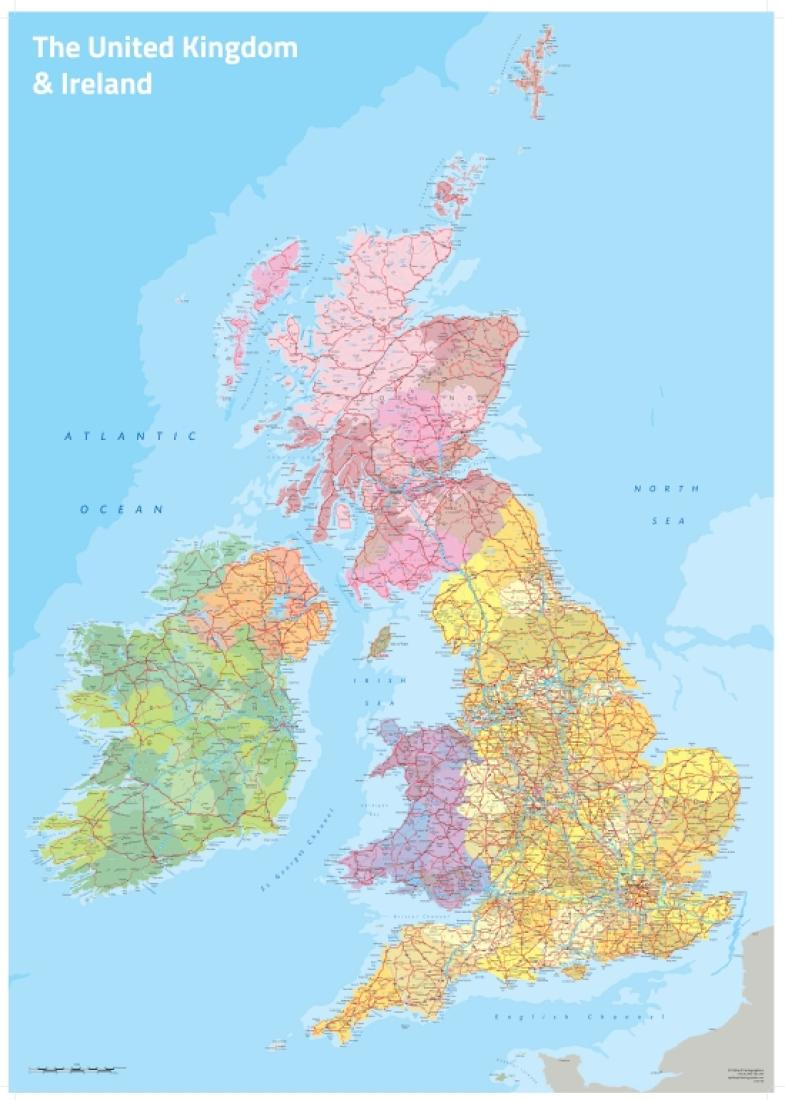 Map Of Uk Oxford.Uk And Ireland Political Wall Map By Oxford Cartographers