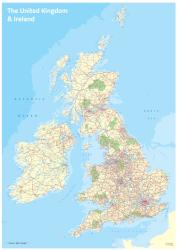 UK and Ireland Wall map with Flat Tint Land Color by Oxford Cartographers