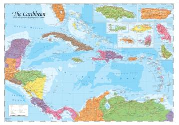 Caribbean and Main Islands, Wall Map by Oxford Cartographers