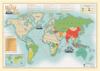 World of Tea, Wall Map by Oxford Cartographers