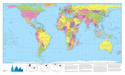 World map, politically coloured, on the Hobo Dyer Projection by Oxford Cartographers