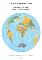 World Political Hexagons, Lambert Azimuthal Equal Area projection centered on 15 East by Oxford Cartographers