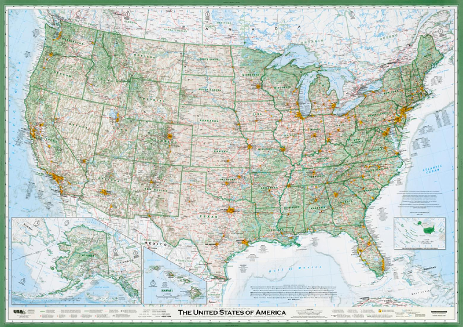 United States of America, The Essential Geography of the, laminated ...