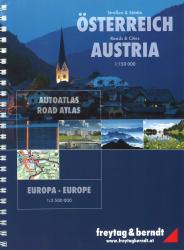 Austria + Europe, Road Atlas by Freytag, Berndt und Artaria
