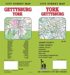 York and Gettsyburg, Pennsylvania Street Map by GM Johnson
