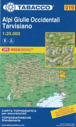 Alpi Giulie Occidentali - Tarvisiano Topographic Hiking Map by Casa editrice Tabacco
