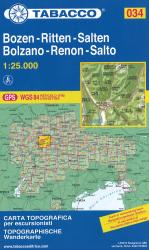 Bolzano and Renon Topographic Hiking Map by Casa editrice Tabacco