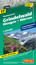 Grindelwald, Wengen and Murren Hiking Map by Hallwag