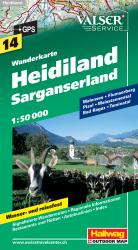Heidiland and Sarganserland Hiking Map by Hallwag