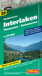 Interlaken, Thuner & Brienzersee Hiking Map by Hallwag
