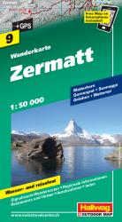 Zermatt Hiking Map by Hallwag