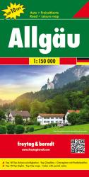 Allgau, Alps, Germany, Road Map by Freytag-Berndt und Artaria