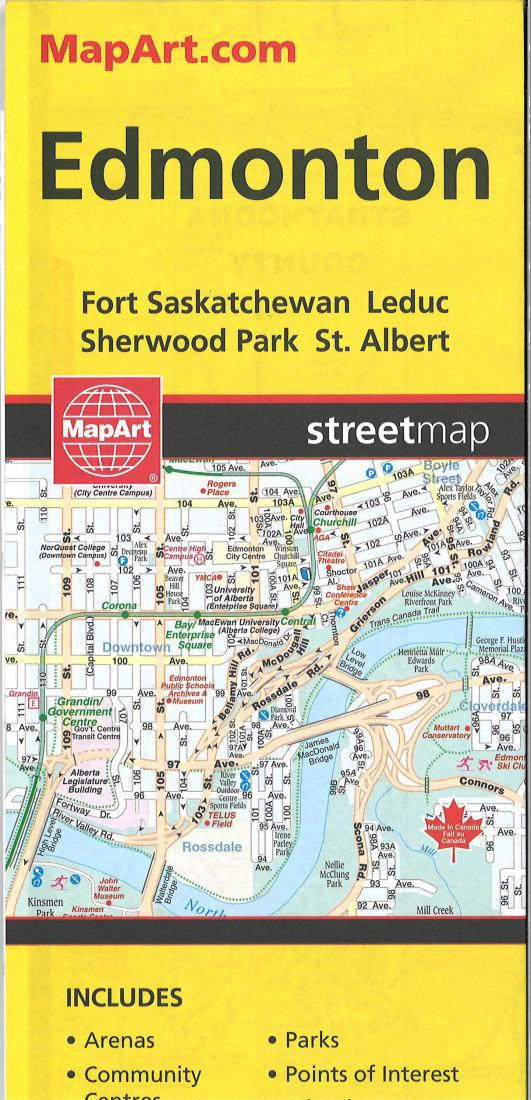 Edmonton Alberta Street Map By Canadian Cartographics Corporation