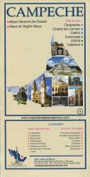 Campeche, Mexico, State and Major Cities Map by Ediciones Independencia