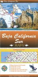Baja California Sur, Mexico, State and Major Cities Map by Ediciones Independencia