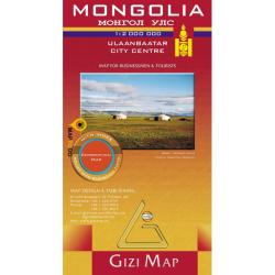 Mongolia Road Map by GiziMap