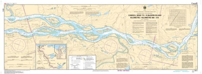 CAMSELL BEND TO/A MCGERN ISLAND KILOMETRE 460 / KILOMETRE 510 (6412) by Canadian Hydrographic Service
