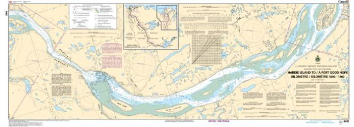 HARDIE ISLAND TO/A FORT GOOD HOPE KILOMETRE 1040 / KILOMETRE 1100 (6421) by Canadian Hydrographic Service