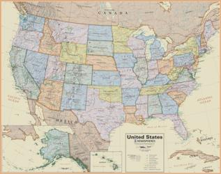 USA, Boardroom Laminated Wall Map by Round World Products, Inc.