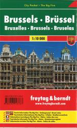 Brussels, Belgium, Pocket City Map + Big Five by Freytag, Berndt und Artaria