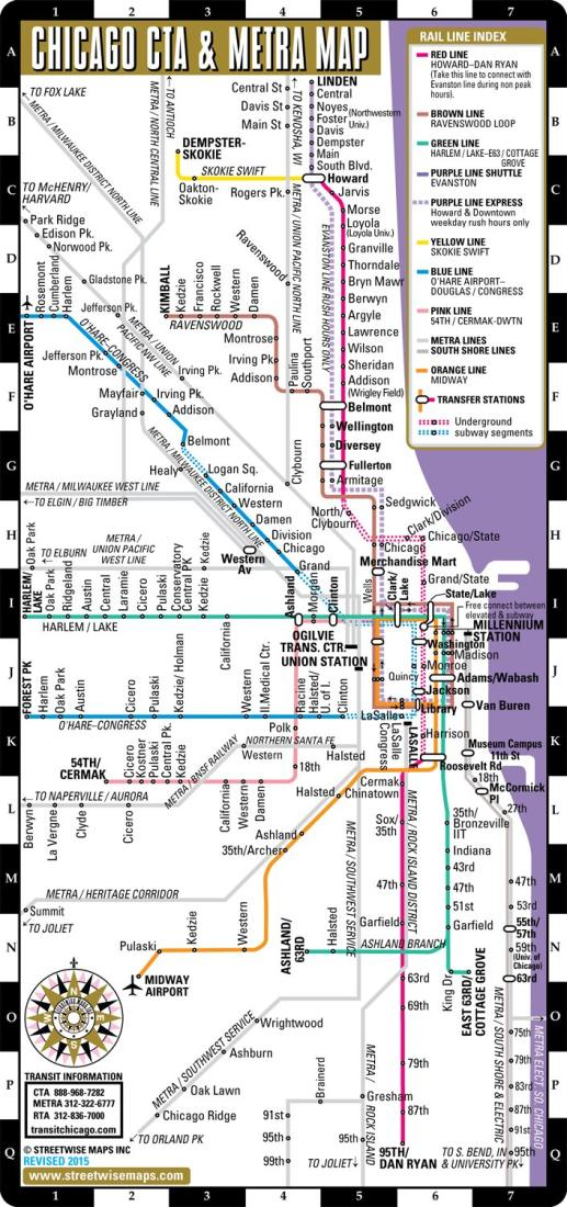 Streetwise Chicago Map.Streetwise Chicago Minimap Cta And Metra By Streetwise Maps Inc