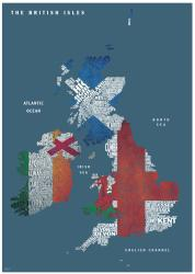 Graphic Map UK - flags by Oxford Cartographers