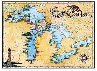 Great Lakes, Lighthouse Map by Avery Color Studios