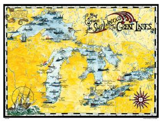 Great Lakes, Shipwreck Map by Avery Color Studios
