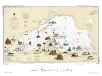 Lake Superior, Lighthouse Map by Avery Color Studios