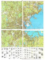 Boston, Massachusetts, Cold War Map, Set of 4 by USSR Ministry of Defense
