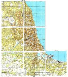 Chicago, Illinois, Cold War Map, Set of 7 Maps by USSR Ministry of Defense