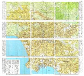 Los Angeles, California, Cold War Map, Set of 12 Maps by USSR Ministry of Defense