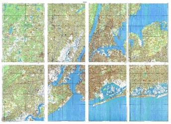 New York, New York, Cold War Map, Set of 8 Maps by USSR Ministry of Defense