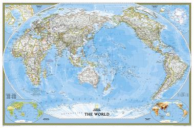 World, Classic, Pacific Centered, Enlarged, Sleeved by National Geographic Maps
