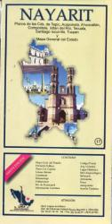 Nayarit, Mexico, State and Major Cities Map by Ediciones Independencia