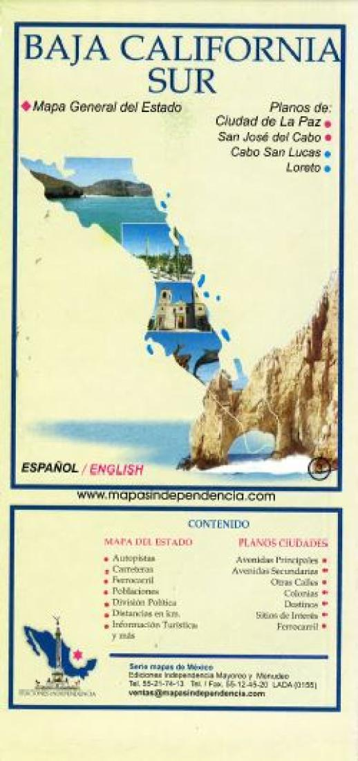 Baja California Sur, Mexico, State and Major Cities Map by Ediciones ...