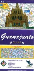 Guanajuato, Mexico, State and Major Cities Map by Ediciones Independencia