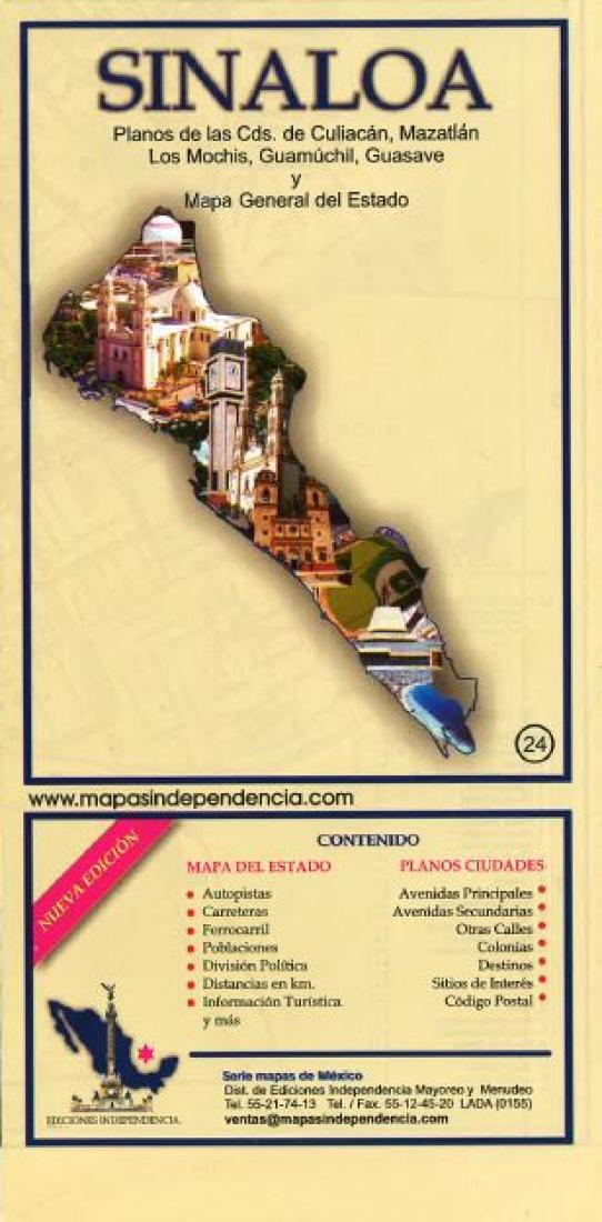 Culiacan Sinaloa Mexico Map.Sinaloa Mexico State And Major Cities Map By Ediciones