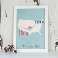Route 66 Print in Frame by Maps International Ltd.