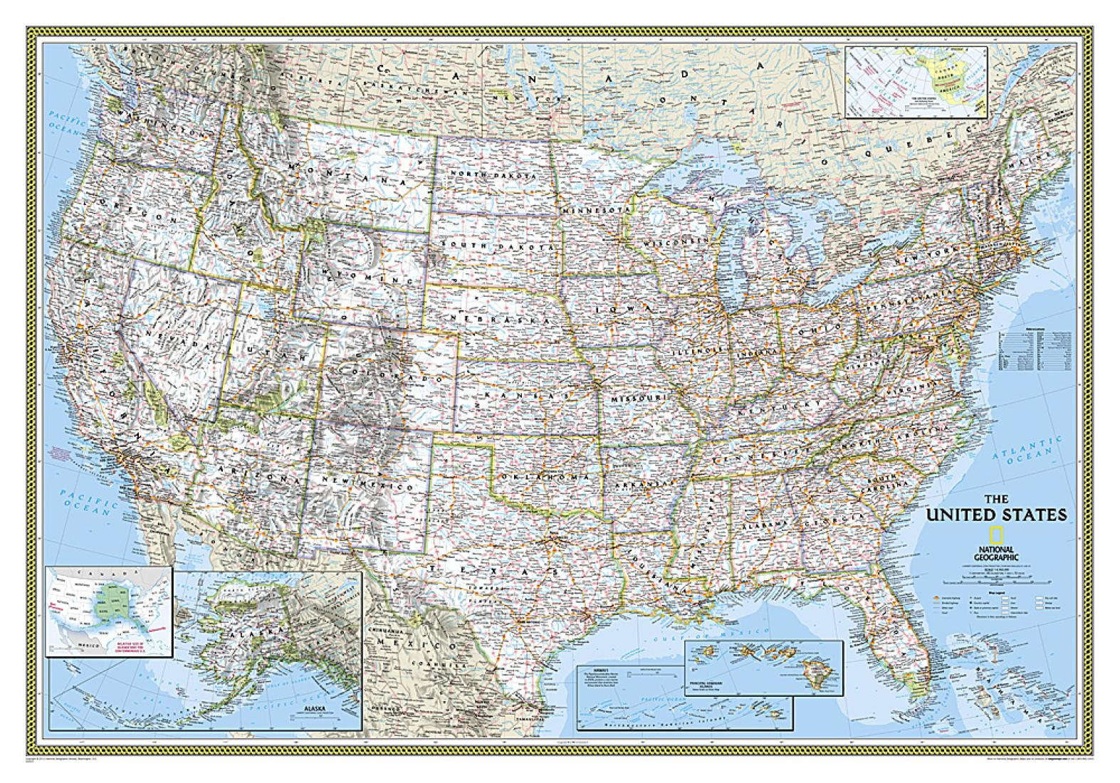 United States Classic Enlarged Wall Map (69.25 x 48 inches) by National  Geographic Maps