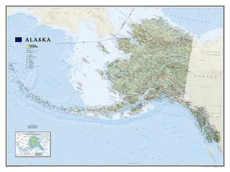 Alaska Wall Map (40.5 x 30.25 inches) (Tubed) by National Geographic Maps