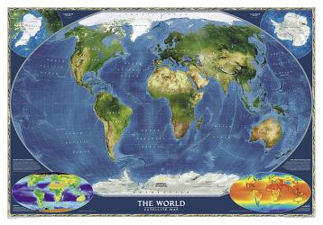 World, Satellite, Sleeved by National Geographic Maps